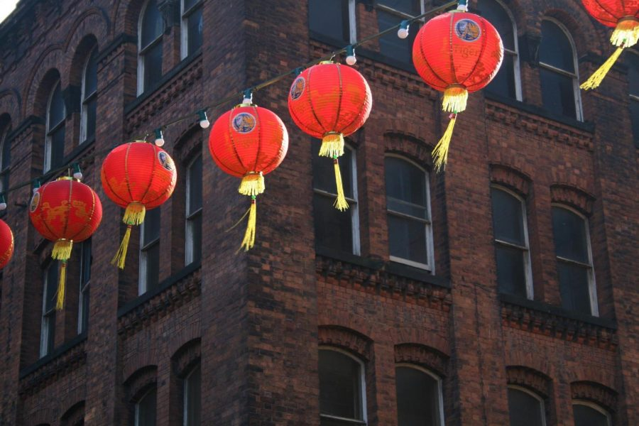 Chinese lanterns hung in celebration of the Chinese Spring Festival.
