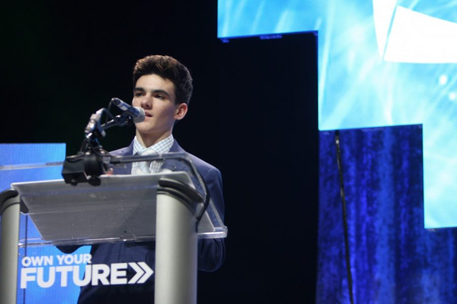 Matthews on stage at the 2017 Michigan DECA State Development Conference.