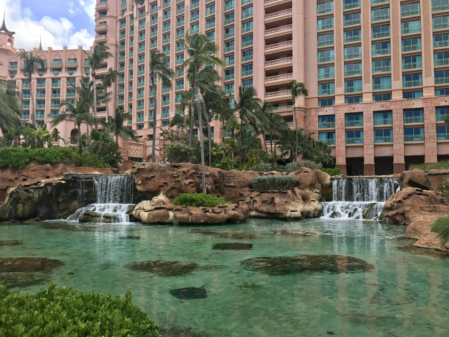Tropical scenery of the famous spring break spot Atlantis in Nassau Bahamas.