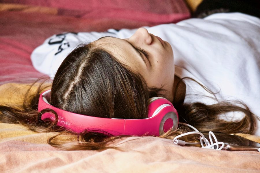 Listening to music helps some students slow their racing thoughts.