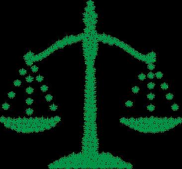 A cartoon marijuana Justice scale.