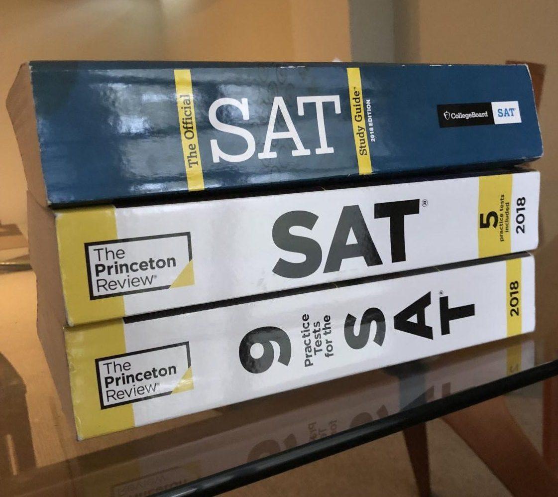 Stack of SAT prep books.