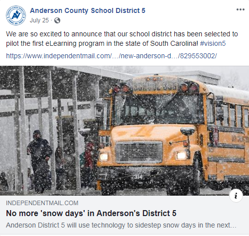 A Facebook post from the School District shortly after the proposal was made.