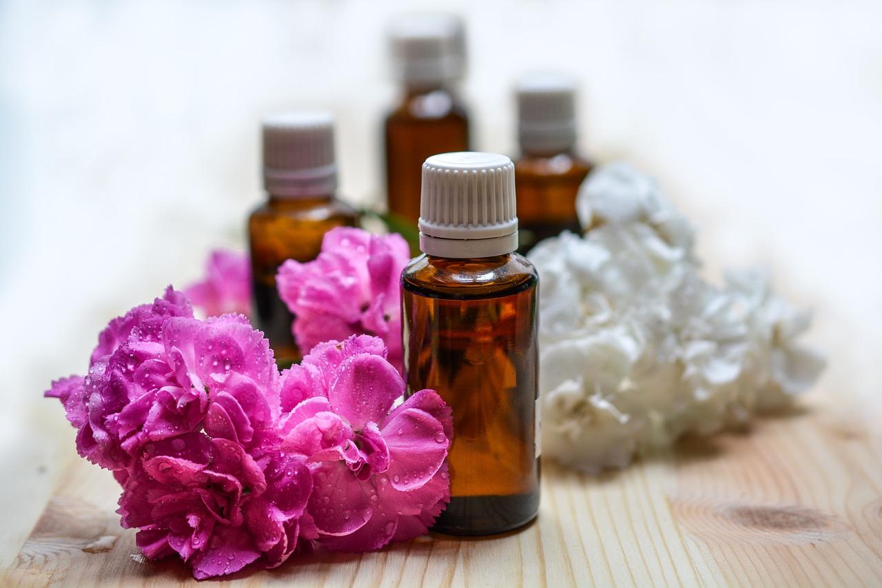 Bottles of essential oils.
