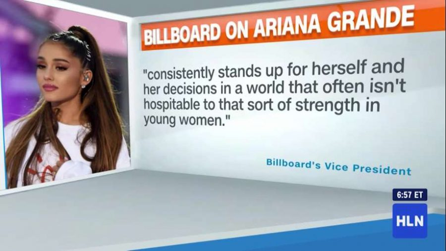 Billboard announcement of Grande as Woman of the Year.