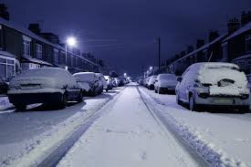 Snowy roads leading to dangerous driving.