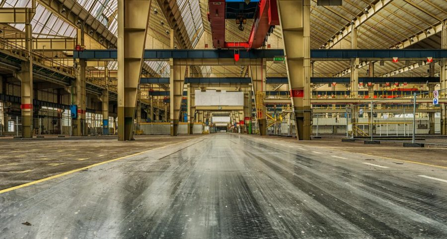 Empty auto assembly plant. GM plans to close five plants this year alone.