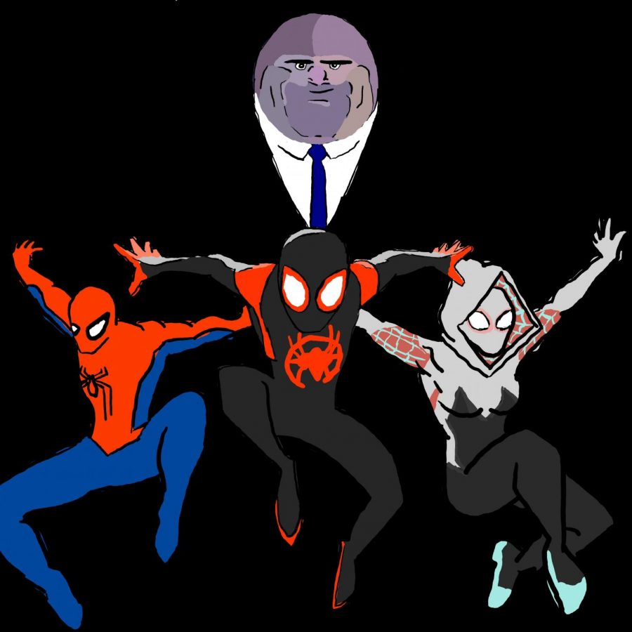 Kingpin+the+main+antagonist+and+the+main+three+spider-people+featured+in+Spiderman%3A+Into+the+Spider-Verse.+