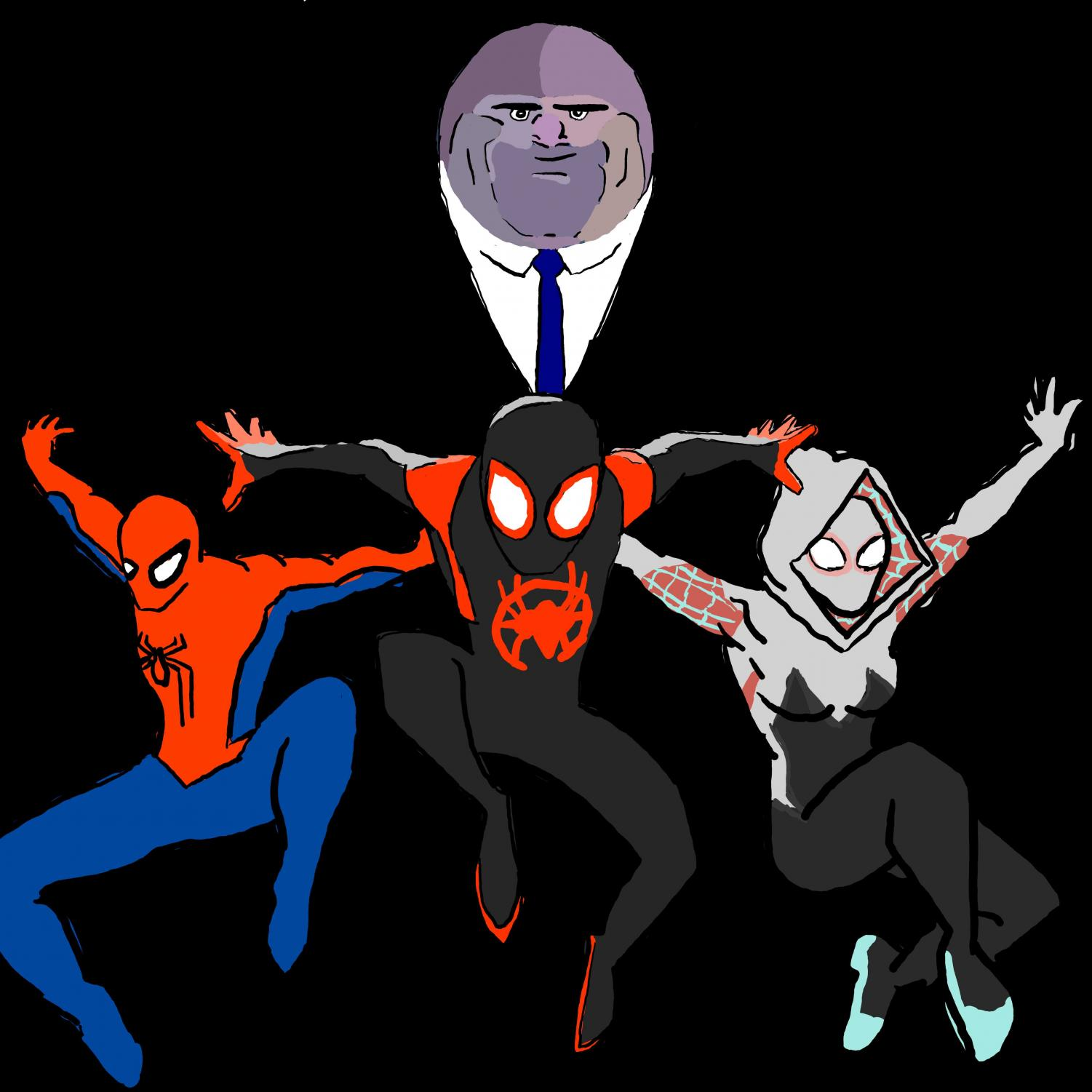 Kingpin the main antagonist and the main three spider-people featured in Spiderman: Into the Spider-Verse.