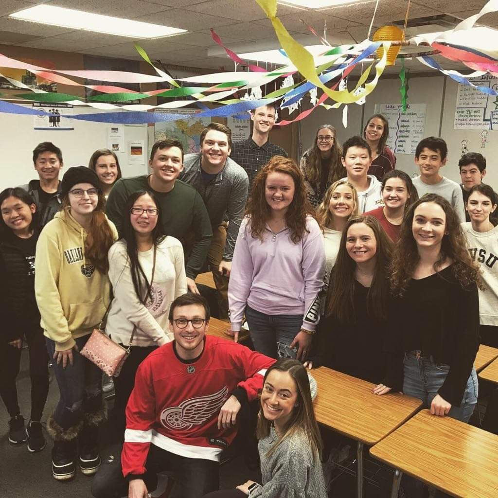 Dominik Bauer and one of the AP German 5 classes at AHS on his final day in the United States.