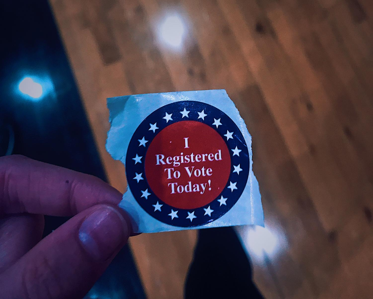 Students who registered received this sticker.