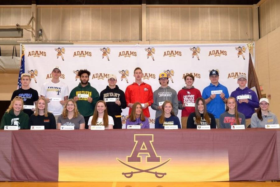 Senior+athletes+at+Adams+who+will+be+continuing+on+their+athletic+career+at+the+college+level.