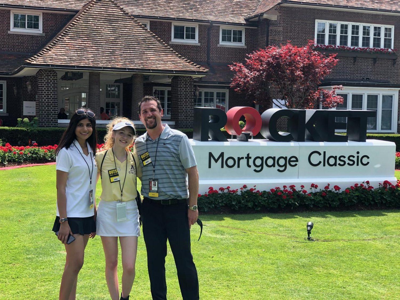Rochester Adams students Kristen D'Souza and Josie Wenzell with journalism teacher Dave Lovalvo