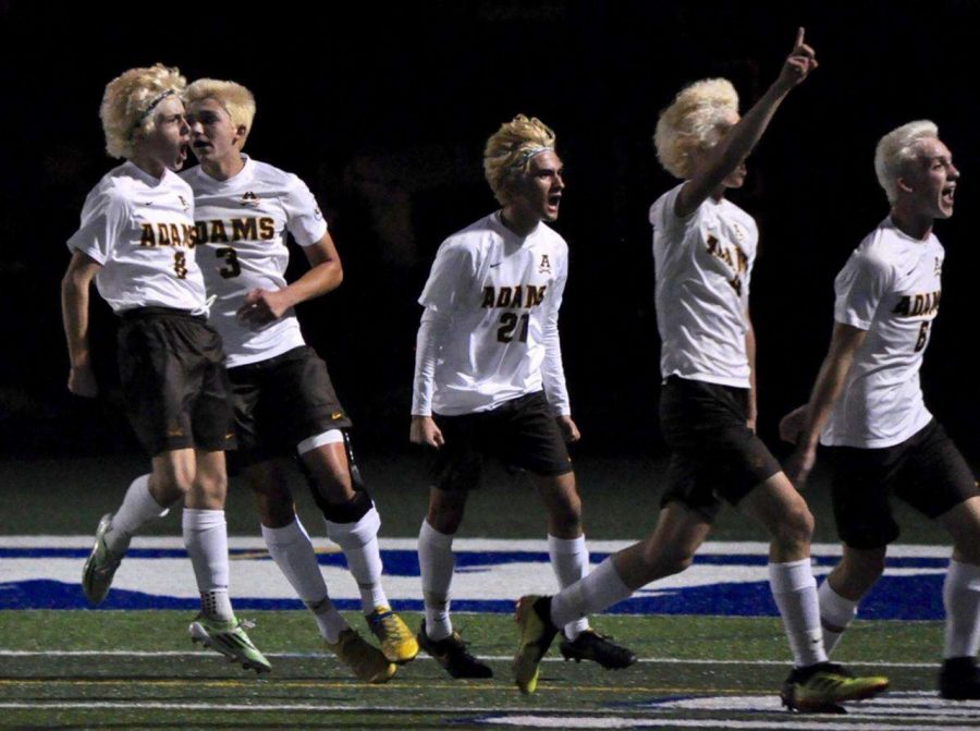 Adams Players celebrating after the win