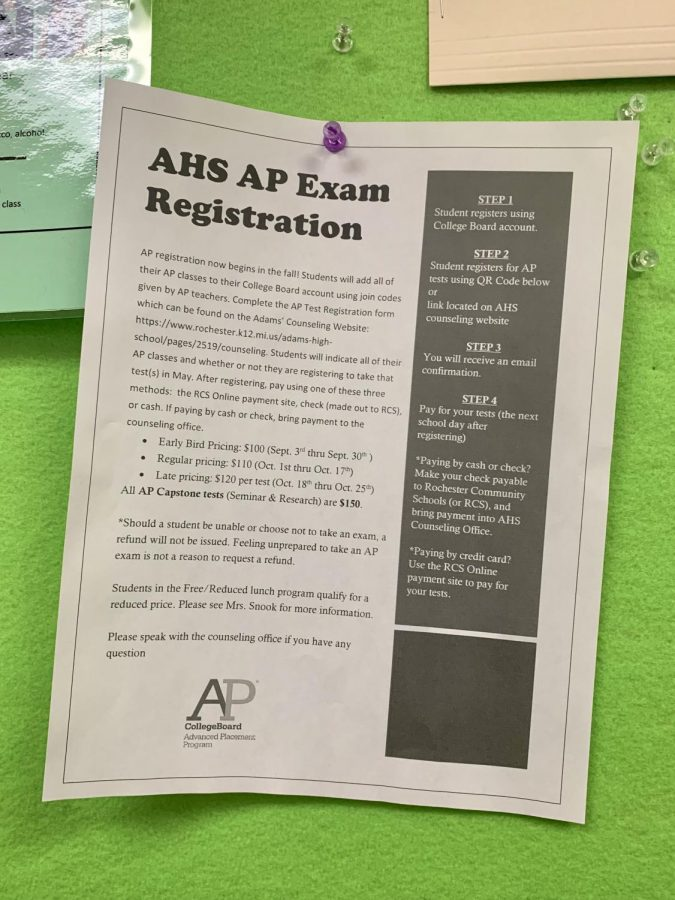 Informational flyers are posted in classrooms and handed out by AP teachers