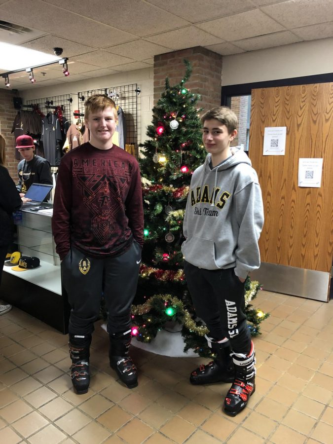 """Jack Myers and Tommy Bull wearing ski boots on """"ski day"""""""