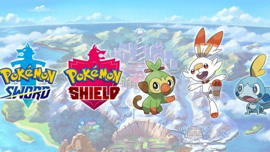 Pokemon Sword & Shield logo and starters