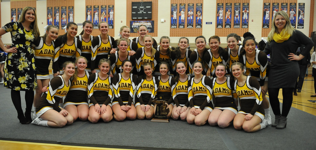 Adams Cheerleading winning their first ever district title in 2018.