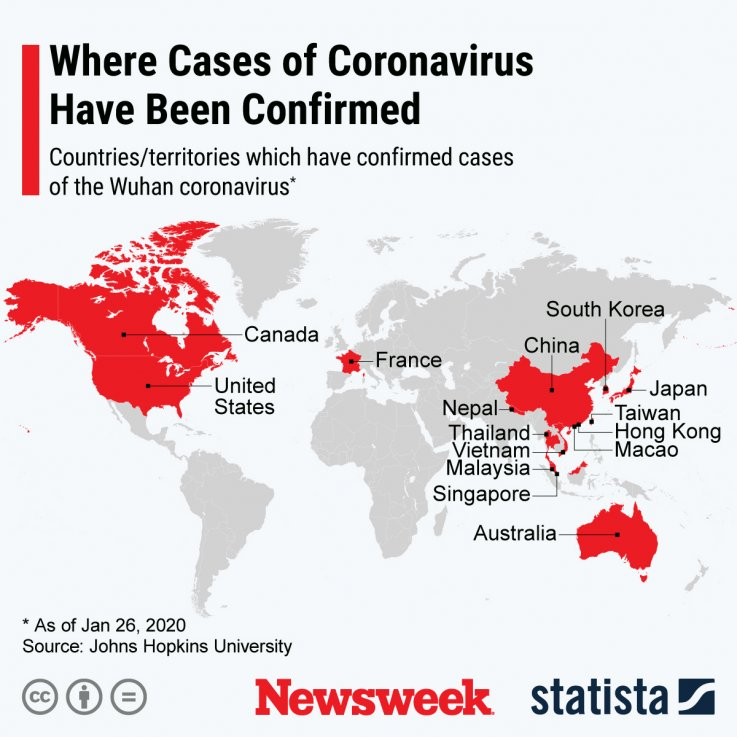 Countries where coronavirus has been detected.