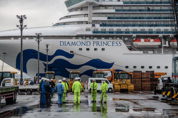 The Diamond Princess cruise ship being docked in Japan.