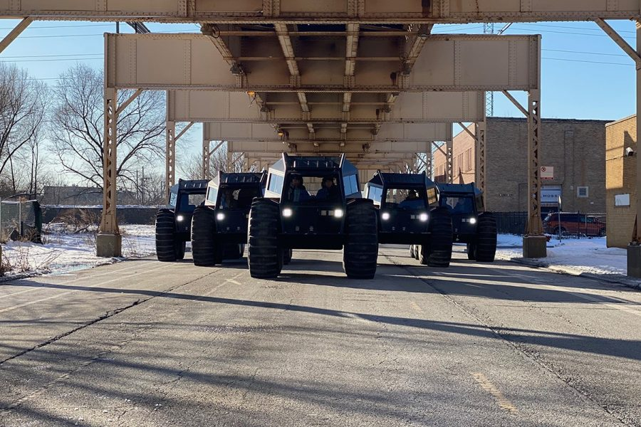 "Yeezy ""Sherpa"" trucks rolling into the city of Chicago."
