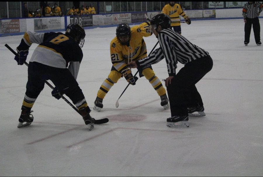 Jack Poussier takes the face off in Clarkstons zone