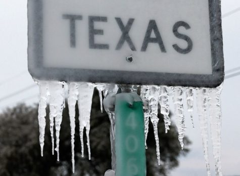 Long icicles hanging from Texas street sign.