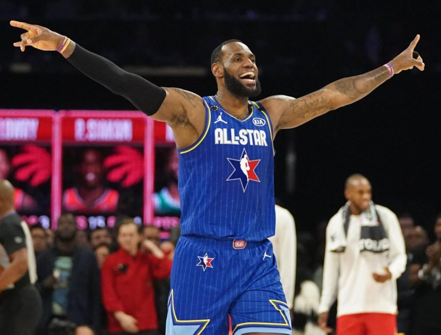 LeBron James at the all-star game in 2020 pre-game.